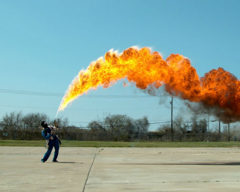The Slow Mo Guys have some epic fun with a 50 ft. Flamethrower