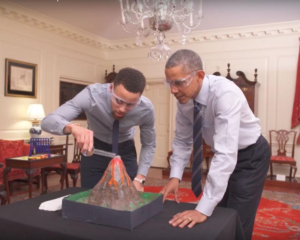 Steph Curry and Barack Obama