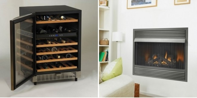 Wine Cooler by Avanti and Napoleon Fire Place