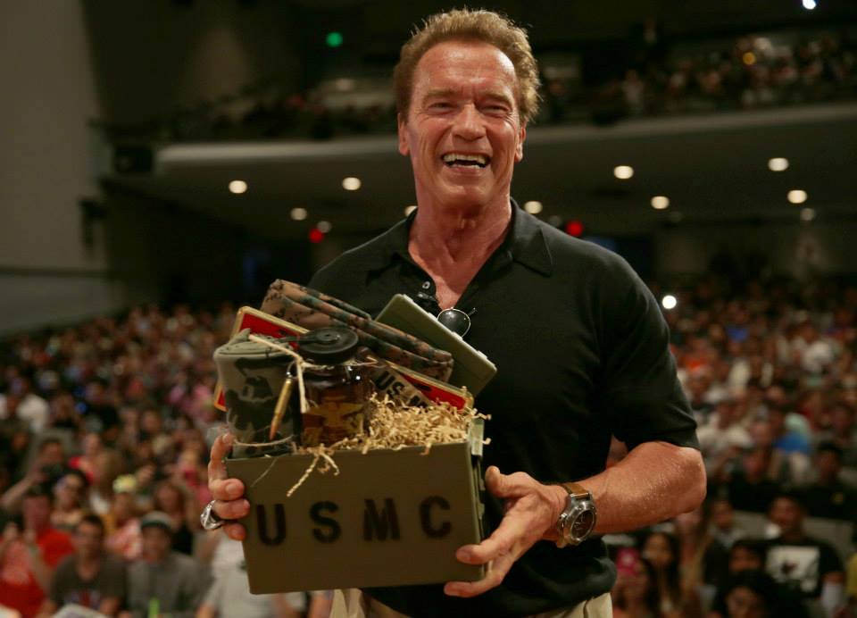 Arnold Schwarzenegger visited the Camp Pendleton Base Theater 2015