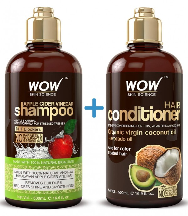 Wow Skin Science Apple Cider Vinegar Shampoo + Hair Conditioner Duo