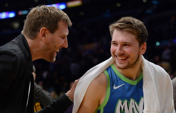 Luka Doncic with Dirk Nowitzki