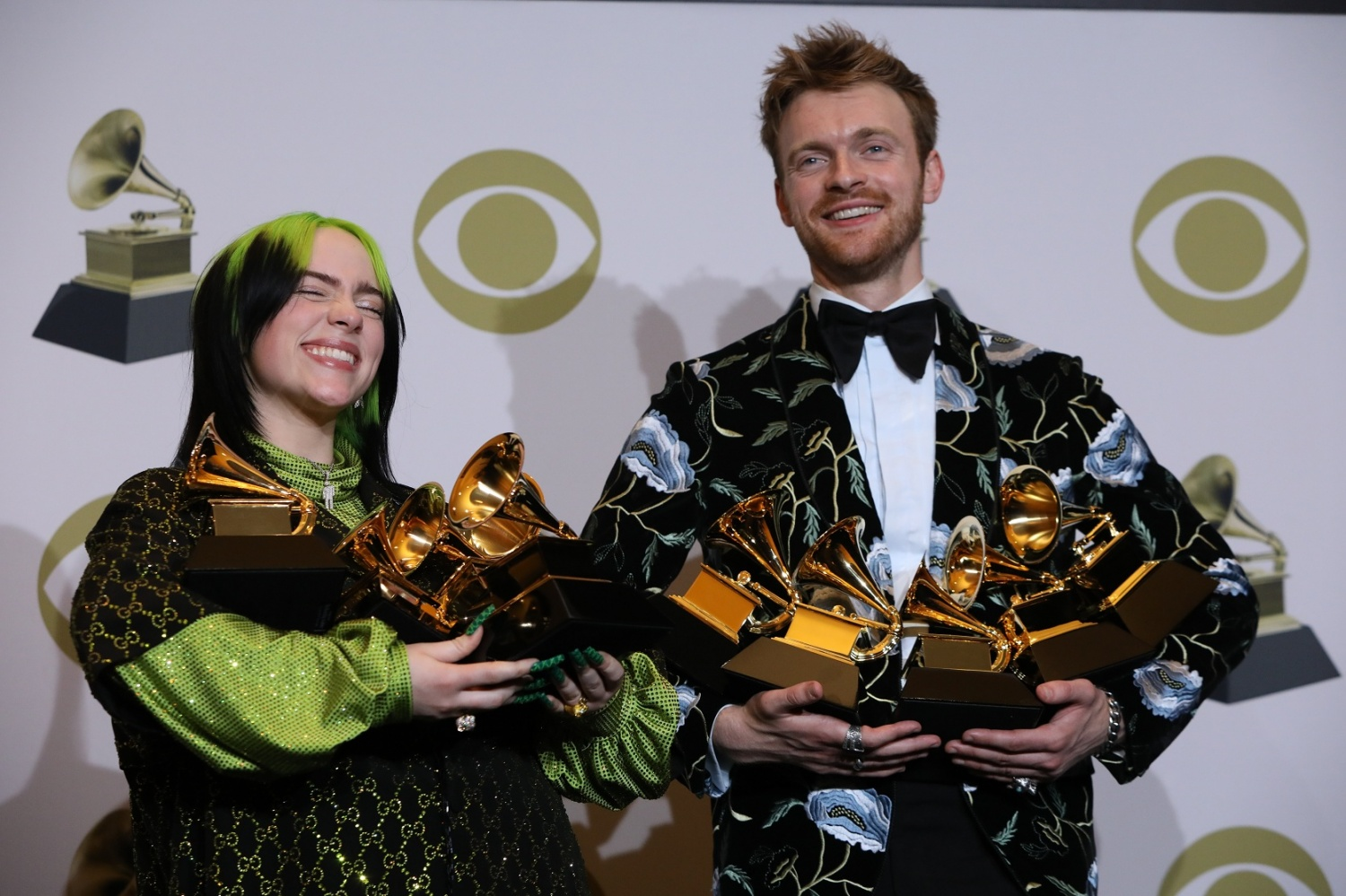 Billie Eilish and Finneas O'Connell backstage at Grammy's 2020