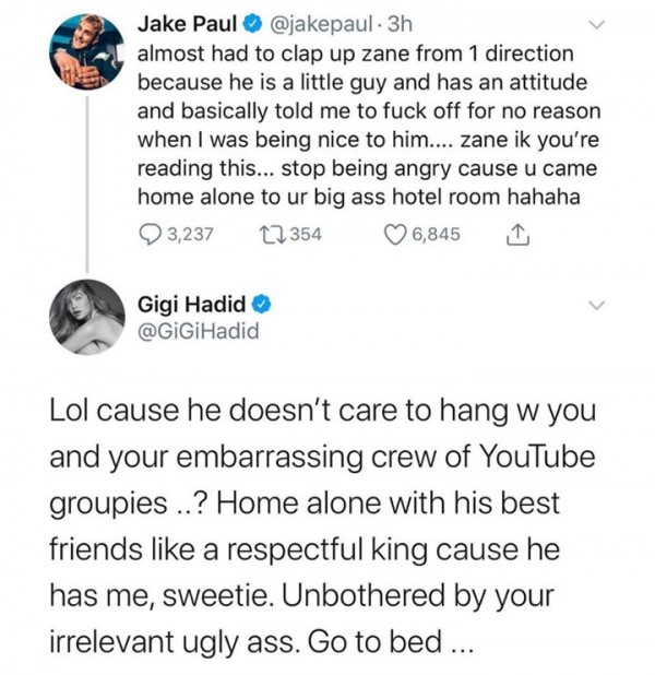 jake paul gigi hadid tweet