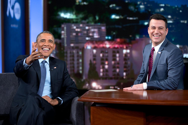 Barack Obama talks with Jimmy Kimmel during a Jimmy Kimmel Live!