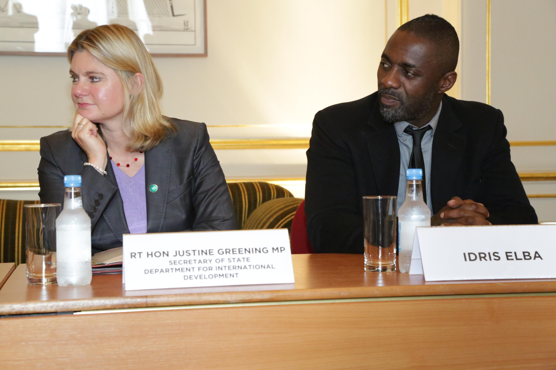 Secretary of State Justine and actor Idris Elba