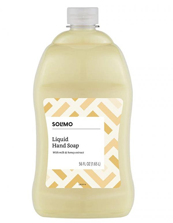 Amazon Brand - Solimo Liquid Hand Soap Refill, Milk and Honey, 56 Fluid Ounce