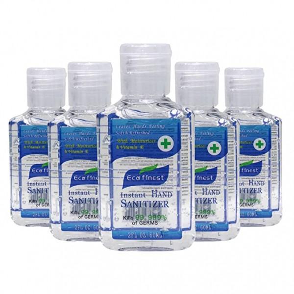 BushKlawz Eco Finest 5 Pack of 2 oz Rinse Free Alcohol Instant Hand Sanitizer