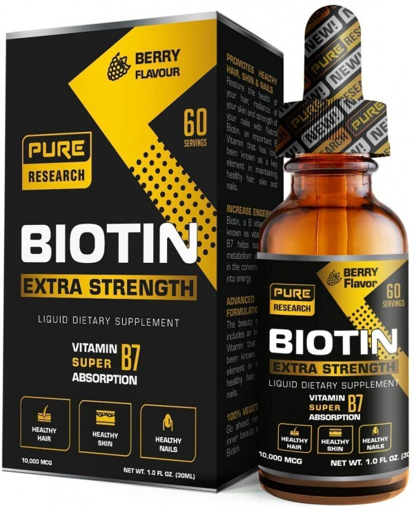 Pure Research's Extra Strength 10000mcg Biotin Liquid Drops