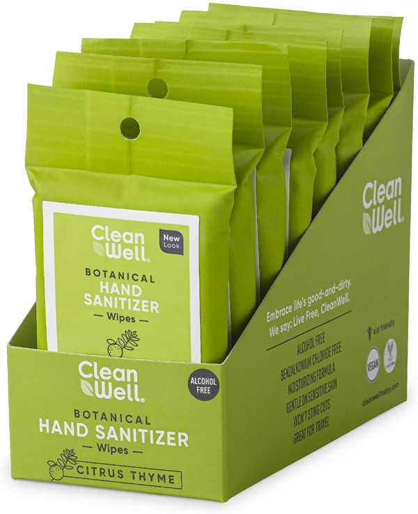 CleanWell Botanical Hand Sanitizer Wipes