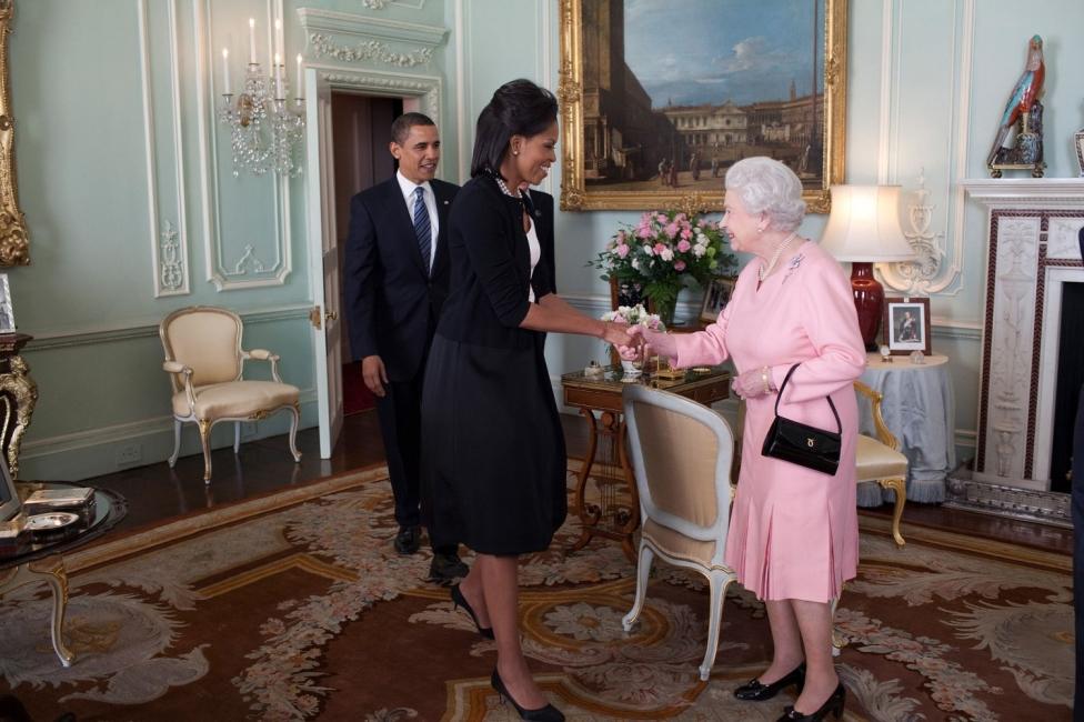 Queen Elizabeth II, Barrack Obama and Michelle Obama