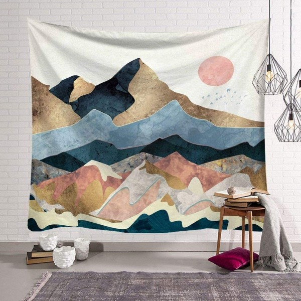 Golden Mountain Tapestry Sunrise Hanging Nature Theme Wall Art Decor