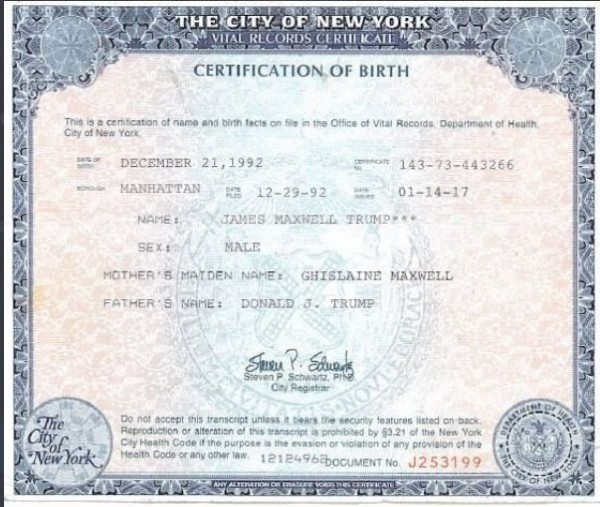 James Maxwell Trump's alleged birth certificate