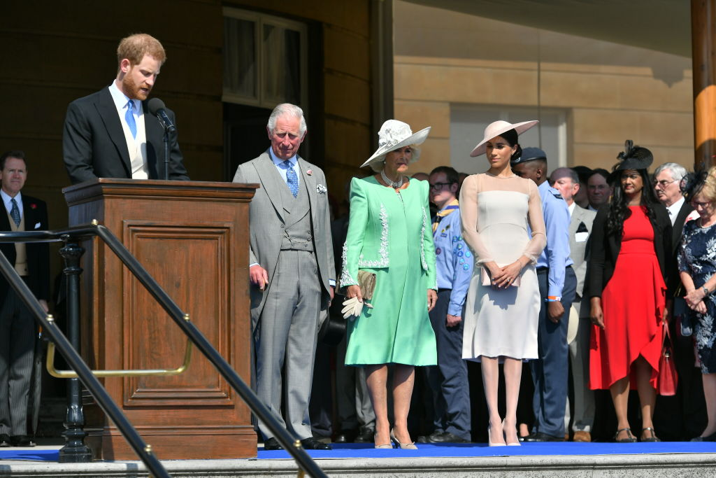 Prince Harry, Duke of Sussex; Prince Charles, Prince of Wales; Camilla, Duchess of Cornwall; Meghan Markle, Duchess of Sussex