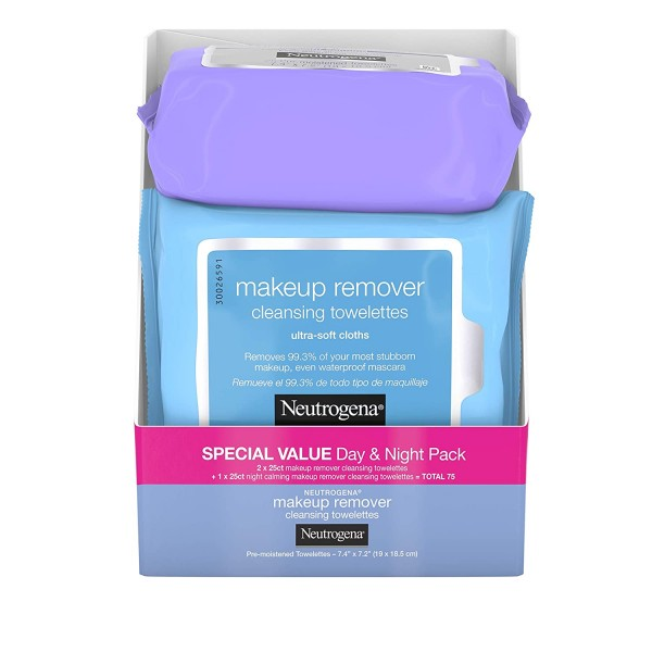 Neutrogena Day & Night Wipes with Makeup Remover Face Cleansing Towelettes