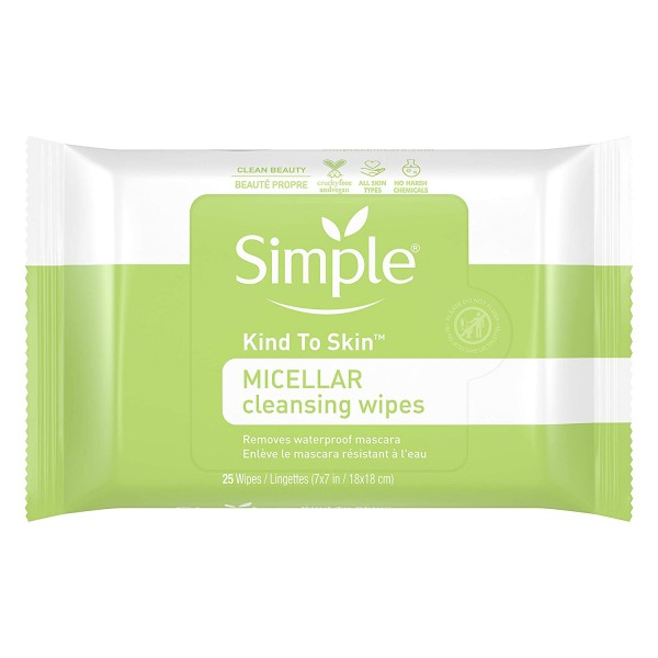 Simple Kind to Skin Facial Cleansing Wipes Cleanser & Makeup Remover for All Skin Types