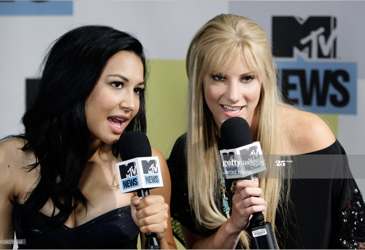 Naya Rivera and Heather Morris at MySpace And MTV Tower During Comic-Con 2010 - Day 3