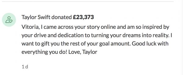Taylor Swift's Response to Vitoria Mario's Ad