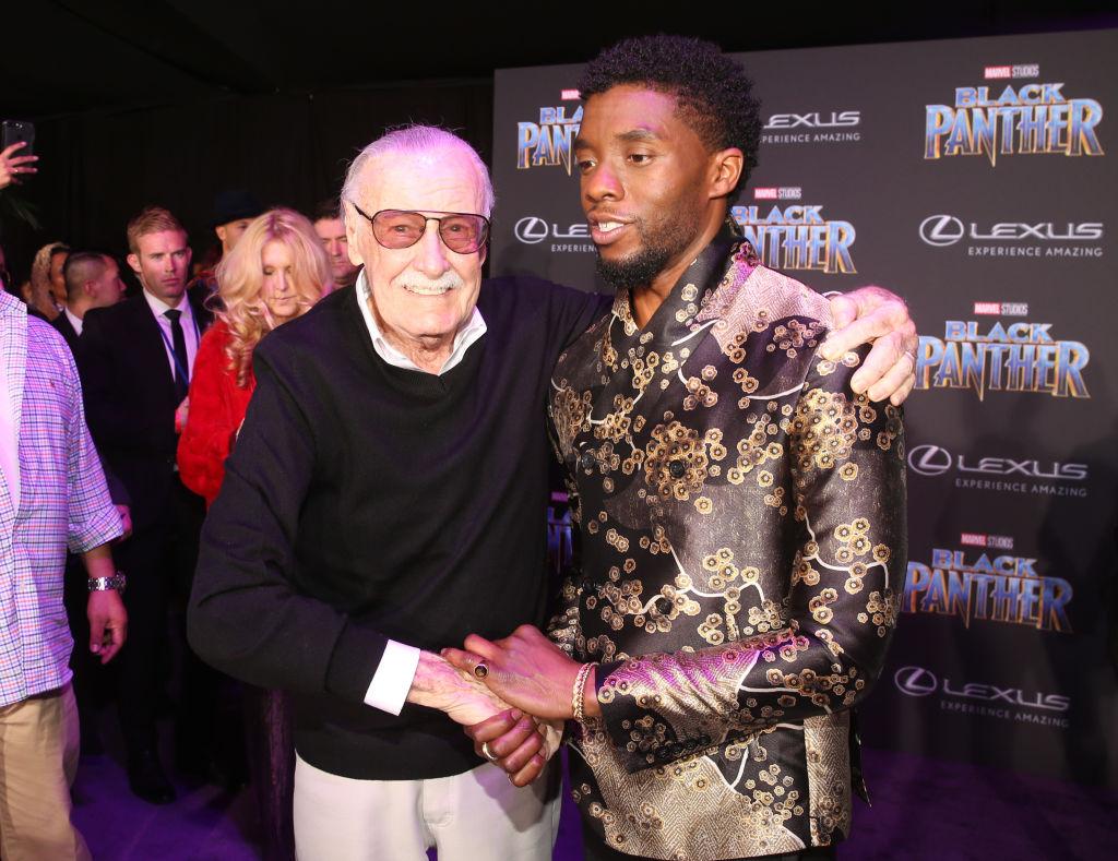 Stan Lee and Chadwick Boseman