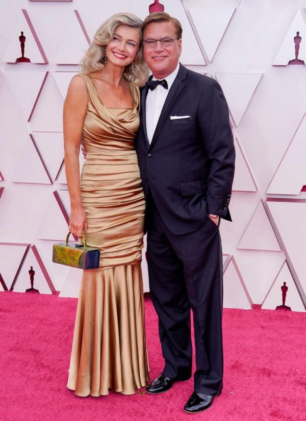 Oscars 2021 Best Original Screenplay nominee Aaron Sorkin walked the red carpet with his new girlfriend, supermodel Paulina Porizkova.