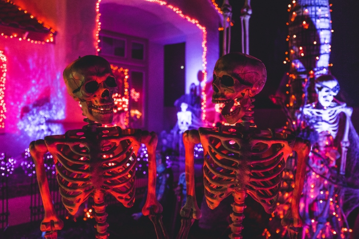 two halloween skeletons in a front yard
